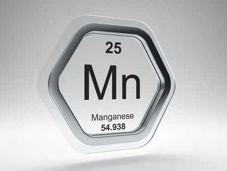 Manganese symbol on modern glass and steel icon