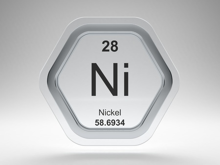 Nickel symbol on modern glass and steel icon Stock Photo