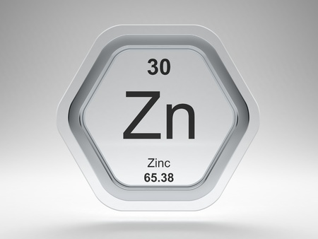 Zinc symbol on modern glass and steel icon Stock Photo