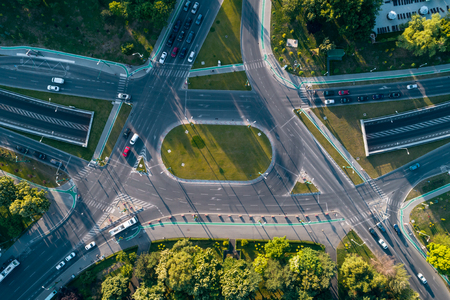 Aerial view of intersection with nice shadows at sunset taken by o professional drone