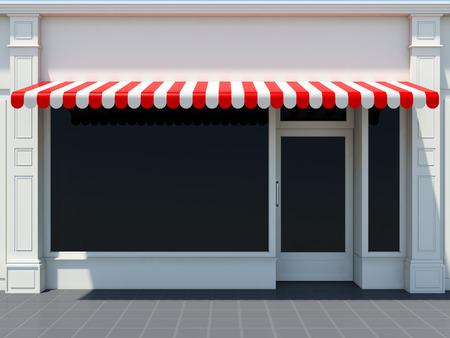 Negozio davanti al sole al sole - negozio classico con tende da sole rosse