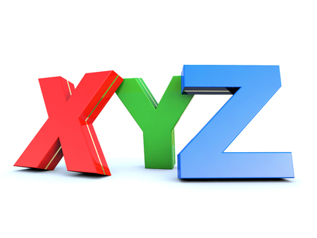 XYZ glossy colored letters on white background