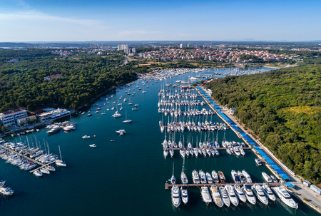 Aerial view of the Marina in Pula, Croatia Banco de Imagens