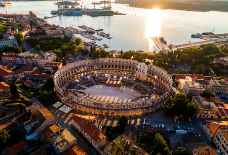 Pula Arena at sunset - HDR aerial view taken by a professional drone. The Roman Amphitheater of Pula, Croatia Foto de archivo