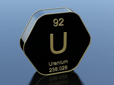 Uranium element symbol on hexagonal black icon