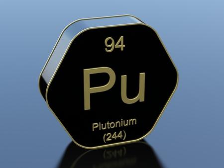 plutonium: Plutonium element symbol on hexagonal black icon