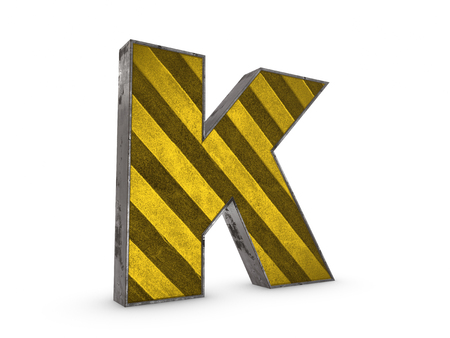 Uppercase yellow Letter K - heavy iron extruded letter industrial style on white background