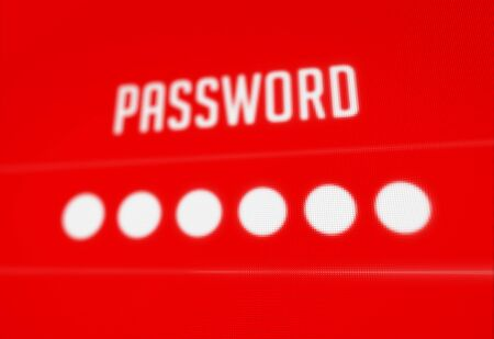 Password protection on dark red pixels screen 3D rendered with depth of field Stock Photo