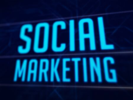 Social marketing text on dark blue pixels screen binary code 3D rendered with depth of field