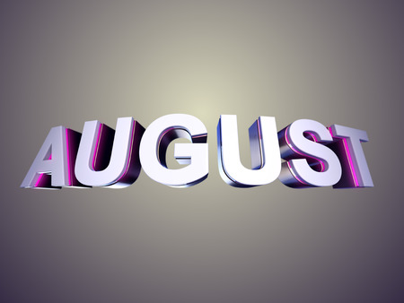 August word from bevel glossy letters in perspective 3d rendered with depth of field 版權商用圖片