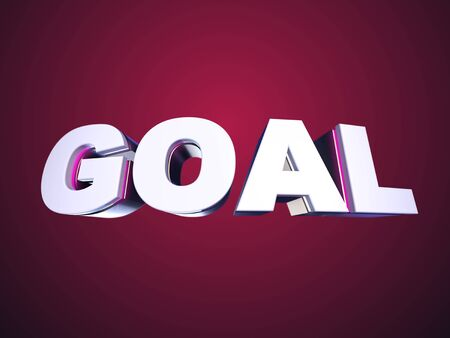 Goal bended text on red background Stock Photo