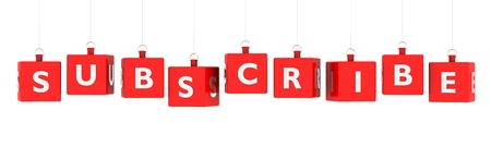 Subscribe word text on glossy red cubes hanging on white background