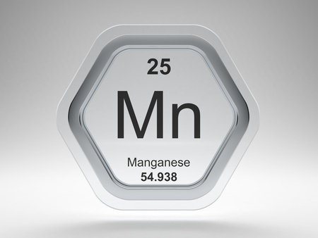 Manganese symbol on modern glass and steel hexagonal icon