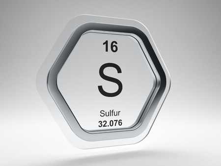 Sulfur symbol on modern glass and steel hexagonal icon