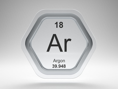 Argon symbol on modern glass and steel hexagonal icon