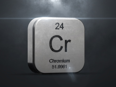 Chromium element from the periodic table. Metallic icon 3D rendered with nice lens flare