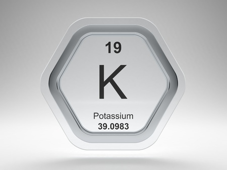 Potassium symbol on modern glass and steel hexagonal icon Stock Photo