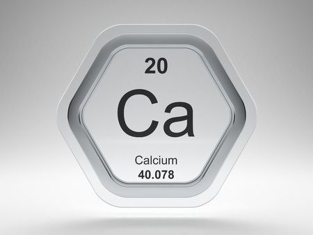 Calcium symbol on modern glass and steel hexagonal icon