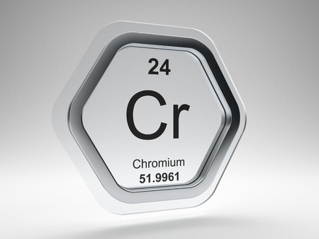Chromium symbol on modern glass and steel hexagonal icon