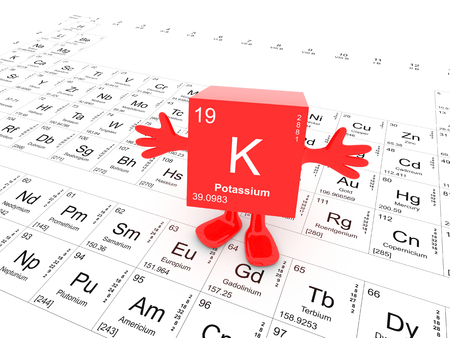 Potassium element symbol on white periodic table - happy red cube with hands up Stock Photo
