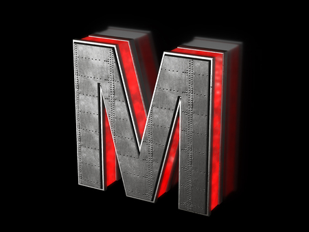 Futuristic letter M - black metallic extruded letter with red light outline glowing in the dark