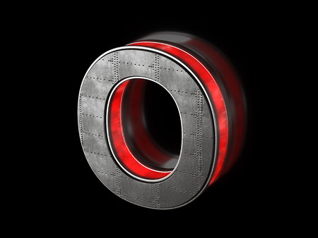 Futuristic letter O - black metallic extruded letter with red light outline glowing in the dark