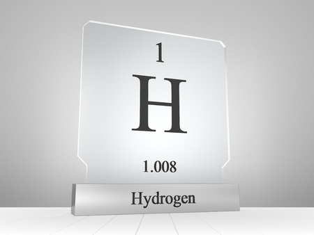 Hydrogen symbol on modern glass and metal icon Stock Photo