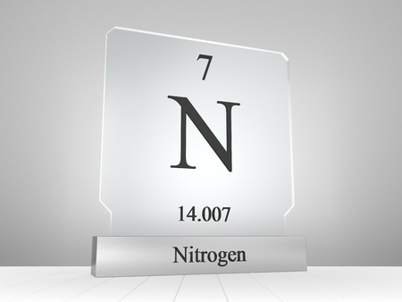 Nitrogen symbol on modern glass and metal icon
