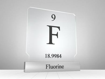 Fluorine symbol on modern glass and metal icon