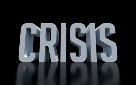 Crisis text word on black background