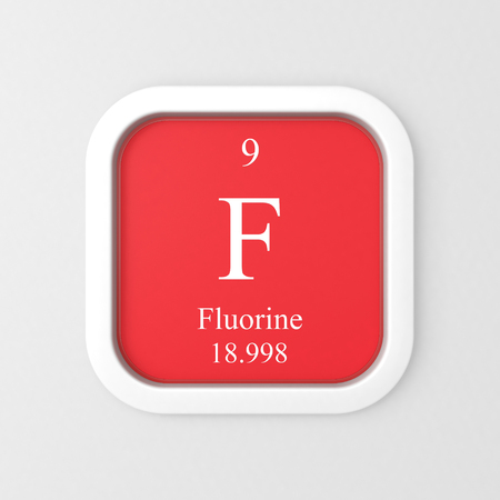 Fluorine symbol on red rounded square icon
