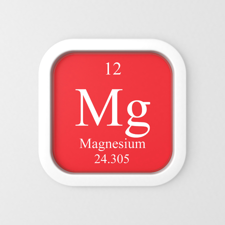 Magnesium symbol on red rounded square icon