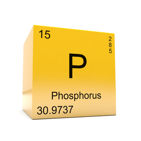 Phosphorus chemical element symbol from the periodic table displayed on glossy yellow cube Stock Photo
