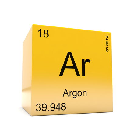 Argon chemical element symbol from the periodic table displayed on glossy yellow cube Stockfoto
