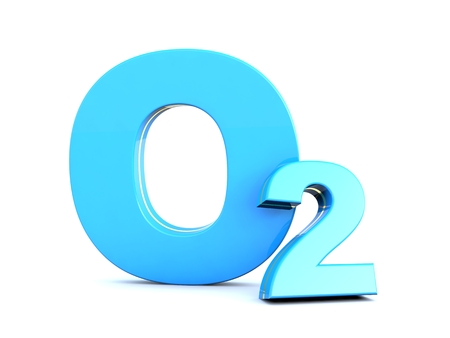 O2 - Blue Oxygen molecule symbol on white background