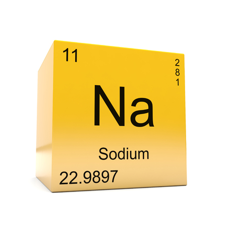 Sodium chemical element symbol from the periodic table displayed on glossy yellow cube