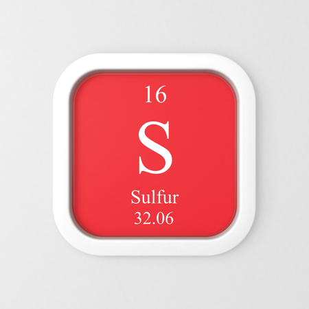 Sulfur symbol on red rounded square icon