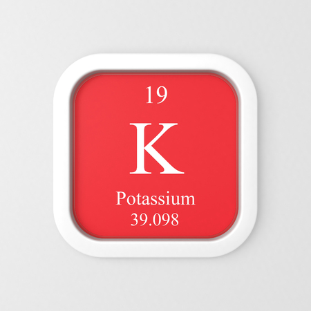 Potassium symbol on red rounded square icon Stock Photo