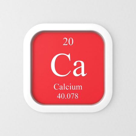 Calcium symbol on red rounded square icon