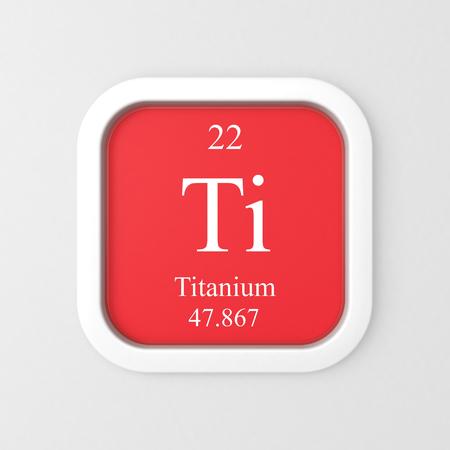 Titanium symbol on red rounded square icon
