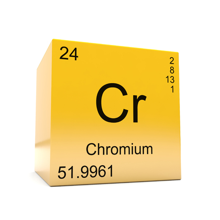 Chromium chemical element symbol from the periodic table displayed on glossy yellow cube