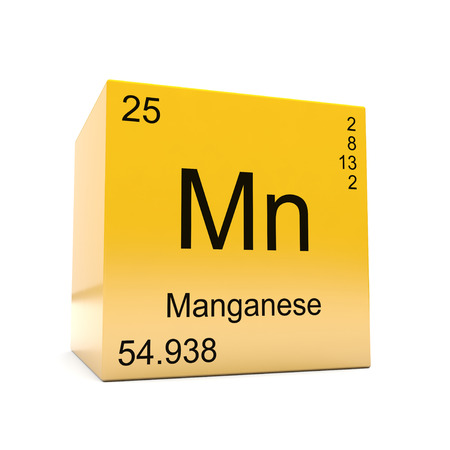 Manganese chemical element symbol from the periodic table displayed on glossy yellow cube