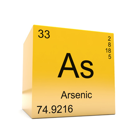 Arsenic chemical element symbol from the periodic table displayed on glossy yellow cube Stock Photo