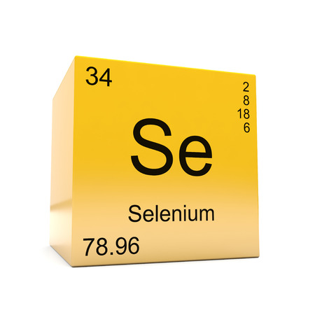 Selenium chemical element symbol from the periodic table displayed on glossy yellow cube