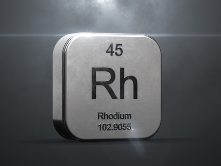 Rhodium element from the periodic table. Metallic icon 3D rendered with nice lens flare Foto de archivo - 104286556
