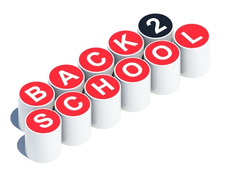 Back to school text on red buttons Imagens