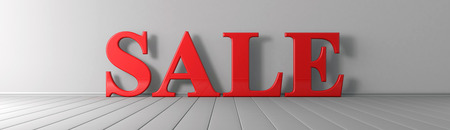 Sale red text on the floor wide banner