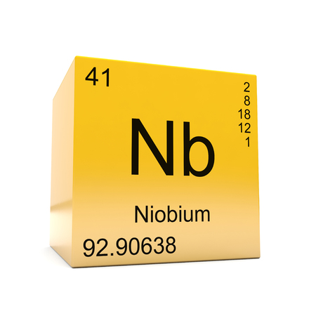 Niobium chemical element symbol from the periodic table displayed on glossy yellow cube