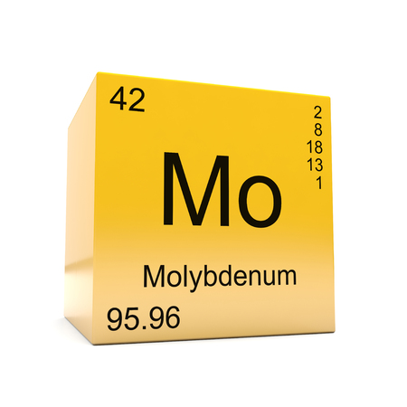 Molybdenum chemical element symbol from the periodic table displayed on glossy yellow cube Imagens