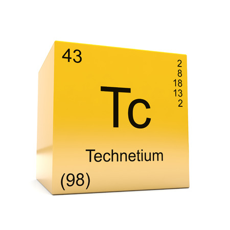 Technetium chemical element symbol from the periodic table displayed on glossy yellow cube